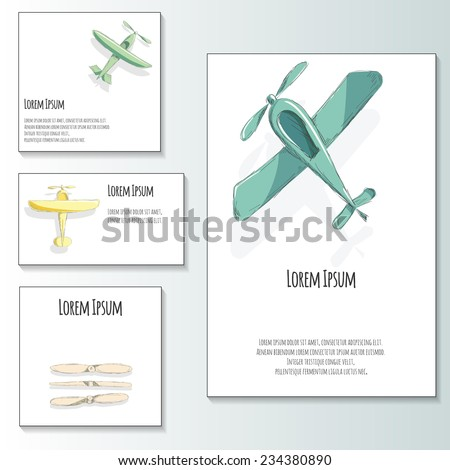 Cute vector set with retro planes for baby shower and marriage invitation.   - stock vector