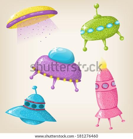 Cute vector UFOs - stock vector