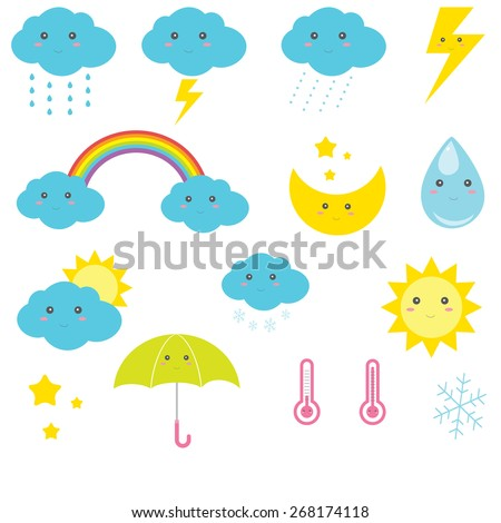 Cute vector weather icons - stock vector