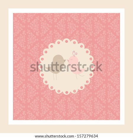 Cute vector wedding invitation or love's postcard with birds in love. Pink ornamental background, white frame, bird's pair. - stock vector