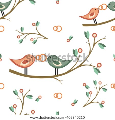 cute vector wedding seamless pattern  with pair of birds on a branch,   rings. For  decoration, invitation, card, fabric, paper or web. retro style. - stock vector