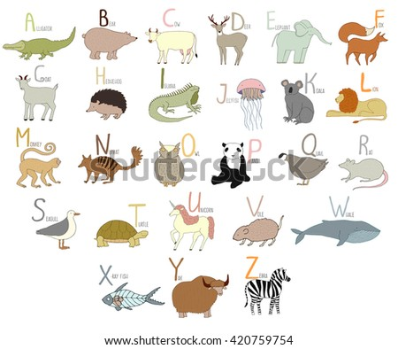 Cute vector zoo alphabet with cartoon animals. Hand drawn letters.  Isolated on white background. Zebra, whale, lion, fox, elephant, iguana, quail, turtle, yak, rat, unicorn, koala, bear, x-ray fish - stock vector