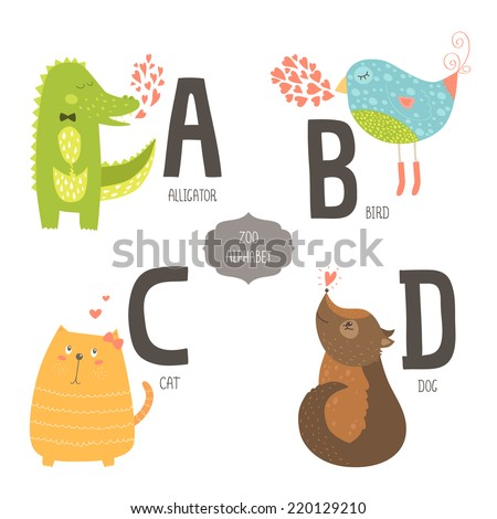 Cute vector zoo alphabet with cartoon animals isolated on white background. A, b, c, d letters. Alligator, bird, cat and dog. - stock vector