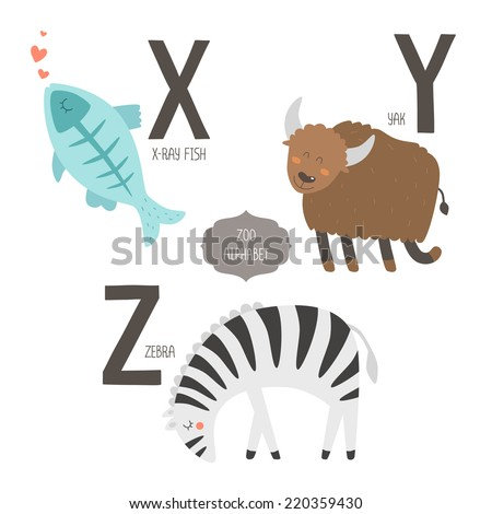 cute vector zoo alphabet cartoon animals stock vector 220359430