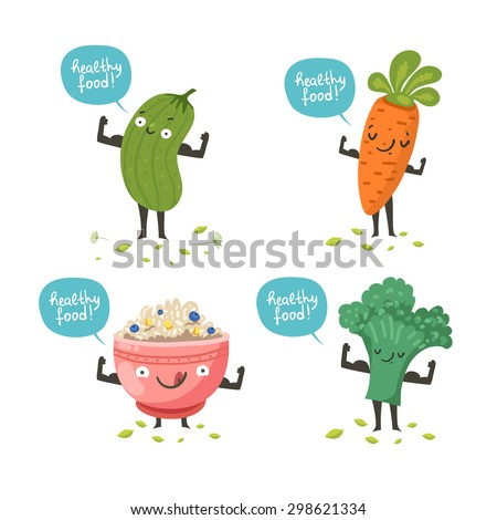 Cute vegetable characters posing like sportsmen and demonstrating their muscles. Funny card of healthy food: cucumber, carrot, broccoli, porridge bowl. Vector colorful illustration isolated on white