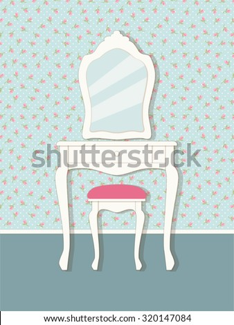 Cute victorian style interior elements as vintage furniture with mirror. Vintage Dressing Table Stock Images  Royalty Free Images   Vectors