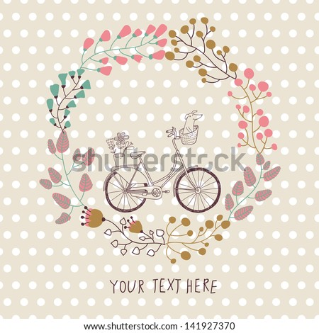 Cute vintage background with bicycle and place for your text. Dachshund and plants in bike basket. Celebration card. Birthday concept. Spring  garden wreath. - stock vector