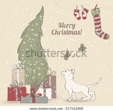 Cute Vintage Christmas Card with Christmas Tree with Presents and a Kitten - stock vector