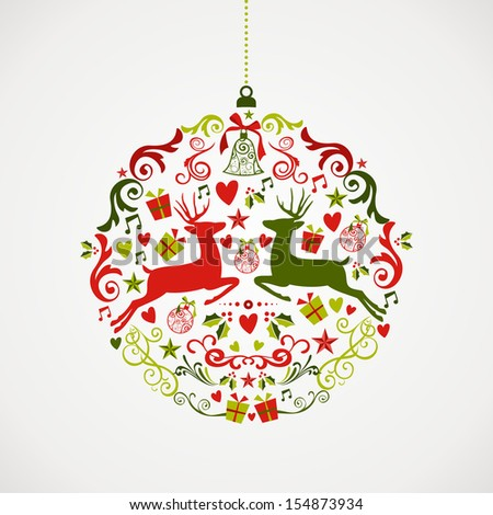 Cute vintage Christmas decoration elements bauble design. EPS10 vector file organized in layers for easy editing. - stock vector