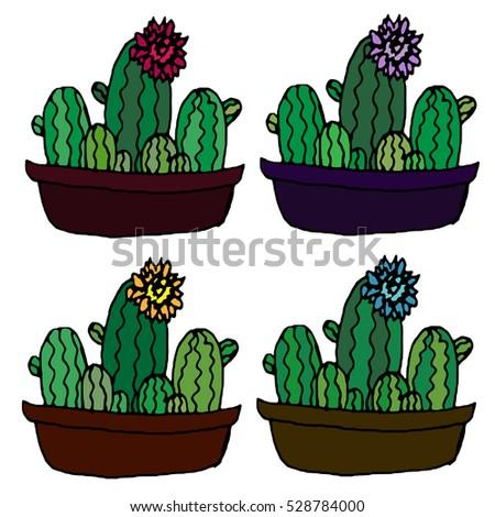 Cute Vintage Doodles Indoor Plants Vector Stock 2018 Spirit Animal Hipster Drawing Cactus Drawings