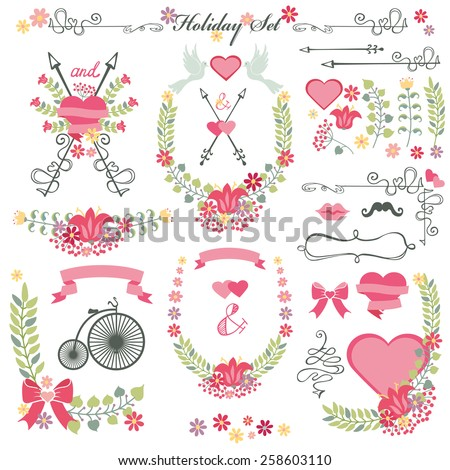 Cute vintage  floral elements.Set of  flowers wreath,branches, decorative elements,swirling decor.For wedding,Valentine day,holiday,birthday,Easter,Mother day.Holiday Vector - stock vector