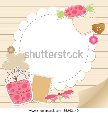 cute vintage greeting card with scrapbook elements - stock vector