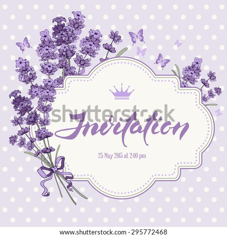 Cute vintage greeting or invitation card with hand drawn floral elements in engraving style - fragrant lavender. Vector illustration. - stock vector