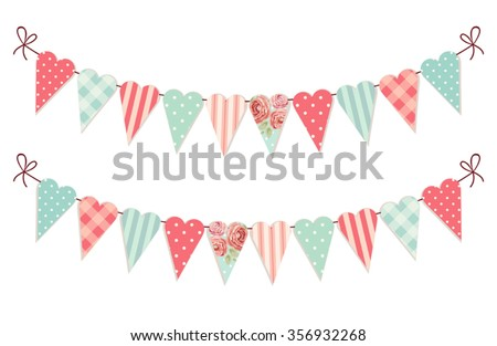 Cute vintage heart shaped shabby chic textile bunting flags ideal for Valentines Day, wedding, birthday, bridal shower, baby shower, retro party decoration etc - stock vector