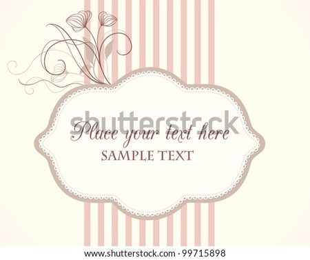 Cute vintage label with floral elements and sample text