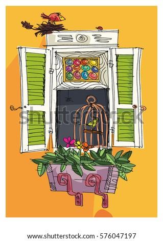 Balcony stock vectors images vector art shutterstock for Balcony cartoon
