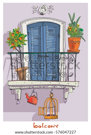 Stock images royalty free images vectors shutterstock for Balcony cartoon