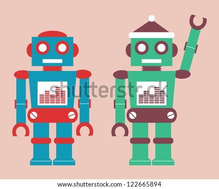 cute vintage robot - stock vector