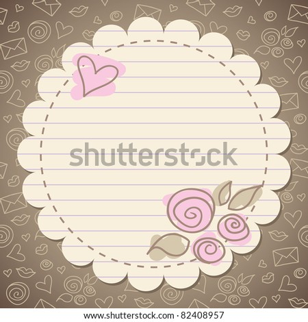 cute vintage romantic frame with old paper - stock vector