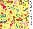 cute vintage toys background, suitable for wrapping paper - stock photo