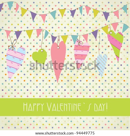 Cute vintage valentine`s card with flags and hearts - stock vector