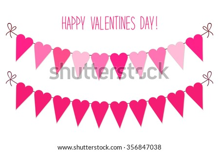Cute vintage Valentines Day heart shaped bunting flags ideal as greeting card or banner etc - stock vector
