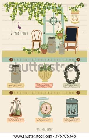 Cute Vintage Vector Elements 4 - stock vector