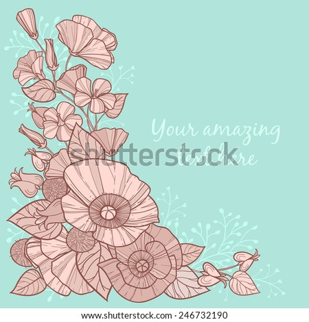 Cute vintage wildflower frame element with poppies, leaves and other flowers.Can be used as greeting, postal, invitation, wedding, birthday, valentines card and other design - stock vector