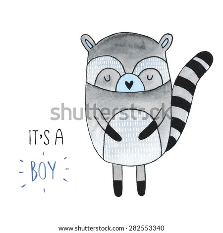 Cute watercolor blue raccoon - stock vector