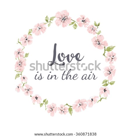 Cute watercolor flowers wreath, spring floral frame - stock vector
