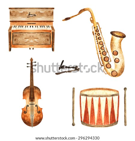 Cute watercolor musical instruments including piano, violin, saxophone and drum, vintage style - stock vector