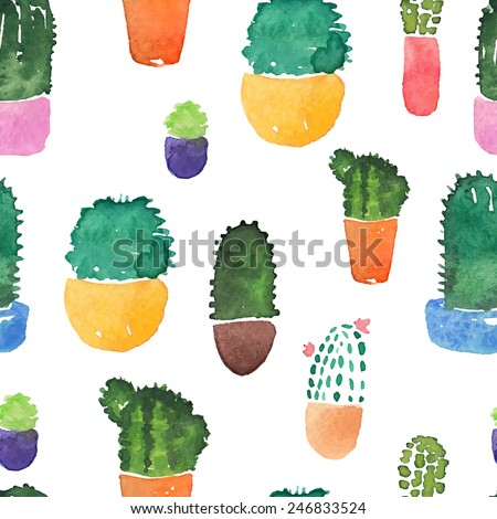 Cute Watercolor Pattern With Cactuses. Seamless Vector Background. - stock vector