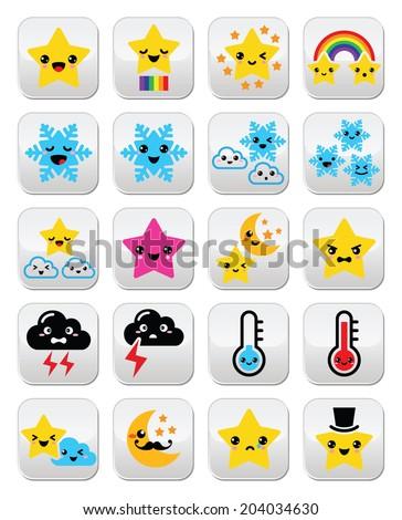 Cute weather kawaii buttons, star, rainbow, moon, snowflake, thunder and cloud - stock vector