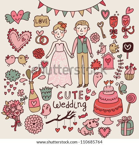 Cute wedding. Big cartoon romantic set in vector - stock vector