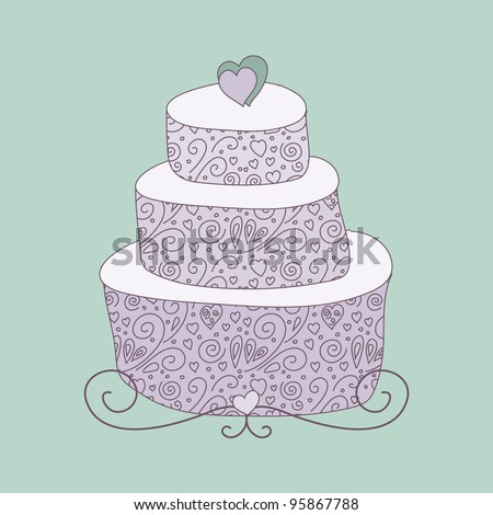 wedding cake hearts cake card stock vector 88942444 22808