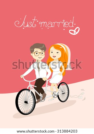 cute wedding card - just married, vector illustration