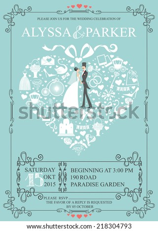 Cute Wedding invitation Design template.Vintage.Composition in the shape of  heart with Bride,groom, wedding items,swirling frame. Retro vector