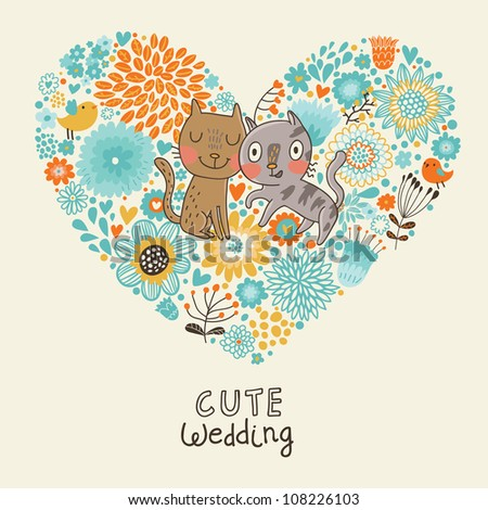 Cute Wedding Invitation With Cats And Bid Flowers Heart