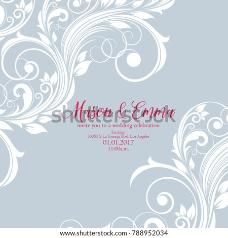 Cute wedding invitation with floral curls. Congratulations on your birthday, invitation card. Flower pattern.