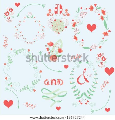 cute wedding invitations ornaments - stock vector