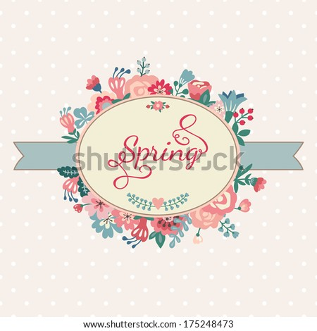 Cute wedding romantic card un a shape of the wreath in vintage style. Floral frame in vector.  Perfect for wedding invitations and birthday cards.