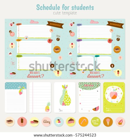 Cute weekly planner template beautiful diary stock vector cute weekly planner template beautiful diary for school vector funny kids illustrations pronofoot35fo Choice Image
