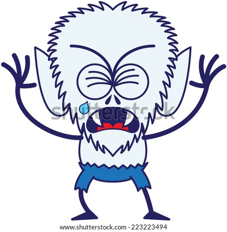Cute werewolf with big head, bulging eyes, blue pants, blue fur and sharp fangs while frowning, clenching its eyes, crying and sobbing in a very sad mood - stock vector