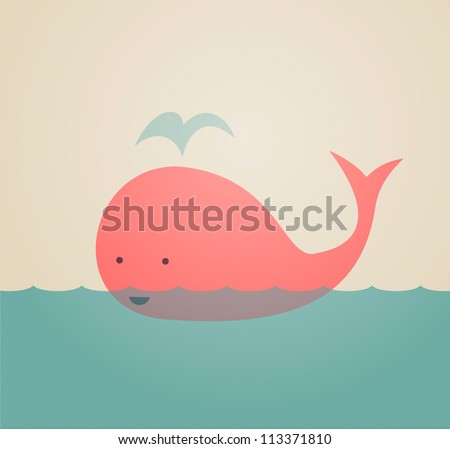 Cute Whale - stock vector