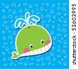 cute whale bookmark - stock vector