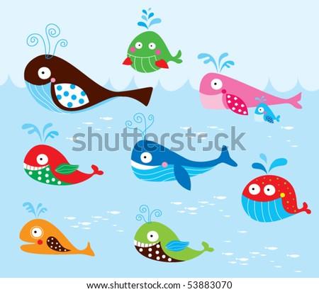 cute whale cartoon wallpaper - stock vector