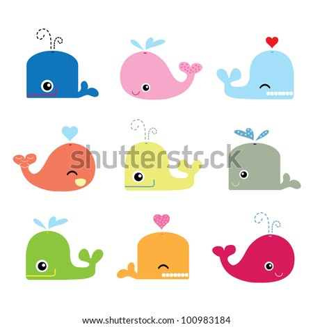Cute Whale Characters - stock vector