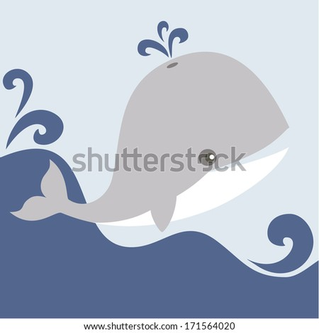 Cute whale is playing in the sea. - stock vector