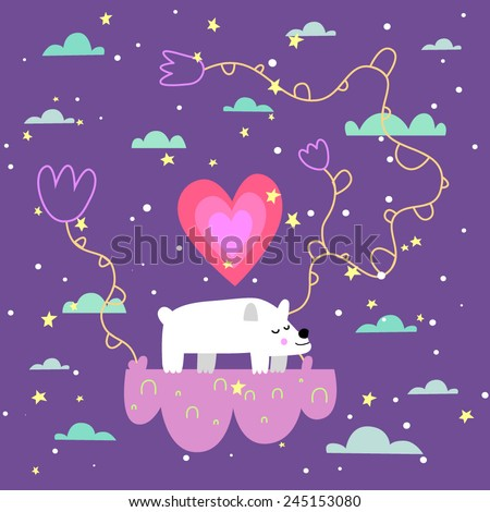 Cute white bear on the cloud. Valentines day card. Vector illustration.