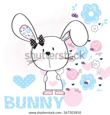 cute white bunny girl baby with flower vector illustration - stock vector